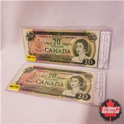 Canada $20 Bills 1969 - Group of 2: Beattie/Rasminsky EU8092375 ; Lawson/Bouey WB4099653