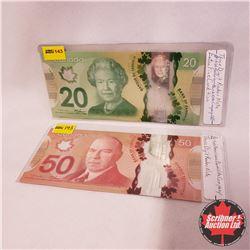 Canada Bills 2012 - Group of 2 (3 Digit RADAR): $50 Bill AMD7338337 ; $20 Bill BSP3354533