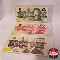 Canada Bills - Group of 3 Bird Series : 1991 $20 AYA6818096 ; 1988 $50 EHY4217292 ; 1988 $100 BJJ103