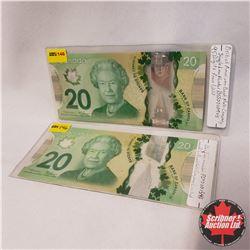 Canada $20 Bills 2012 - Group of 2 (Low Serial #'s): FIP0001546 & BSJ0000905