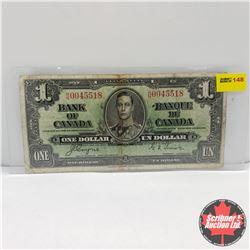 Canada $1 Bill 1937 : Coyne/Towers HN0045518