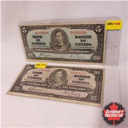 Canada Bills 1937 - Group of 2: $5 Coyne/Towers ES0266698 ; $10 Bill Gordon/Towers ND8801201