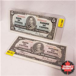 Canada Bills 1937 - Group of 2 (Miscuts) : $5 Coyne/Towers XC6826110 ; $10 Bill Gordon/Towers JT1378