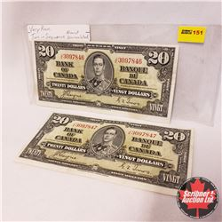 Canada $20 Bills 1937 (2 SEQUENTIAL) : Coyne/Towers JE3097846/47