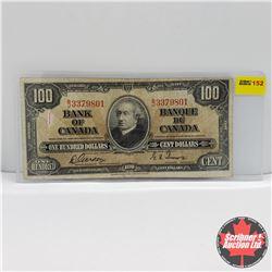 Canada $100 Bill 1937 : Gordon/Towers BJ3379801