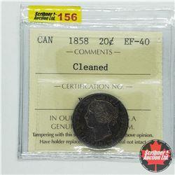 Canada Twenty Cent 1858 -Cleaned (ICCS Cert EF-40)
