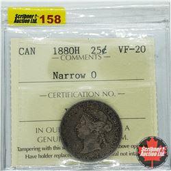 Canada Twenty Five Cent 1880H - Narrow 0 (ICCS Cert VF-20)