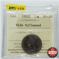 Canada Twenty Five Cent 1880H - Wide 0 - Cleaned (ICCS Cert VG-10)