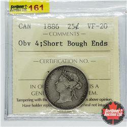 Canada Twenty Five Cent 1886 - Obv 4; Short Bough Ends (ICCS Cert VF-20)