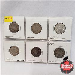 Canada Twenty Five Cent - Sheet of 6: 1912; 1917; 1918; 1919; 1920; 1921