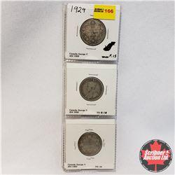 Canada Twenty Five Cent - Sheet of 3: 1929; 1930; 1932