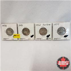 Canada Twenty Five Cent - Strip of 4: 1938; 1948; 1952 High Relief ; 1954