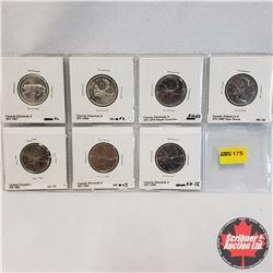 Canada Twenty Five Cent - Strip of 7 : 1967; 1968; 1978 Small Dent; 1980 Near Beads; 1983; 1984; 198