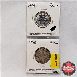 Canada Twenty Five Cent - Strip of 2 - Commemorative: 1998 Proof & 1998 Antique