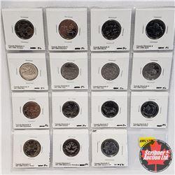 Canada Twenty Five Cent - Sheet of 15: Complete set 12 PL month coins