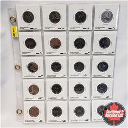 Canada Twenty Five Cent - Sheet of 20: 1993, 1994, 1995, 1996, 2001P, 2002P, 2002P Canada Day, 2003P