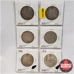 Canada Fifty Cent - Strip of 6: 1912; 1913; 1916; 1917; 1918; 1919