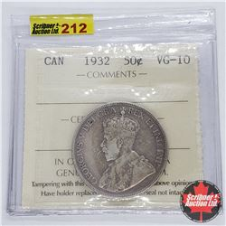 Canada Fifty Cent 1932 (ICCS Cert VG-10)