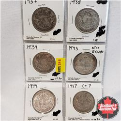 Canada Fifty Cent - Strip of 6: 1937; 1938; 1939; 1943 Near 3; 1944 Near 4; 1947 Cr 7 ND