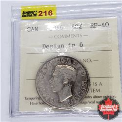 Canada Fifty Cent 1946 - Design in 6 (ICCS Cert EF-40)
