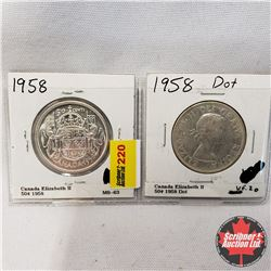 Canada Fifty Cent - Strip of 2: 1958; 1958 Dot