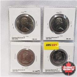 Canada Fifty Cent - Strip of 4: 1970; 1973; 1977; 1978 Round Jewels