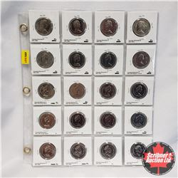 Canada Fifty Cent - Sheet of 20: 1968; 1969; 1971; 1972; 1974; 1975; 1976; 1978 Square Jewels; 1979