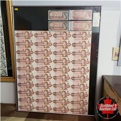 Large Framed UnCut Sheet of Canada $2 Bills + Other Canadian $2 Currency (See Pic!)