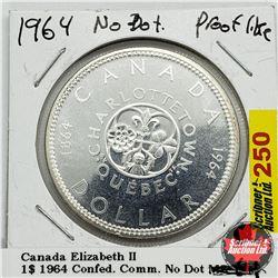 Canada One Dollar 1964 Confed Comm. No Dot