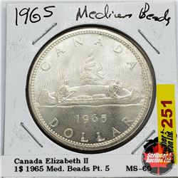 Canada One Dollar 1965 Med Beads Pt 5