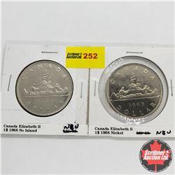 Canada One Dollar - Strip of 2: 1968 No Island; 1968 Nickel