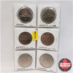 Canada One Dollar - Sheet of 6: 1975; 1976; 1977; 1977; 1982; 1984