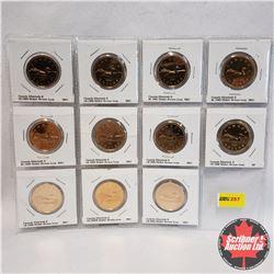 Canada Loonie - Sheet of 11: 1989; 1990; 1991; 1992; 1993; 1994; 1995; 1996; 1998; 1998W; 2002