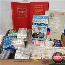 Tray Lot: Coin Collecting Supplies US Ref Books