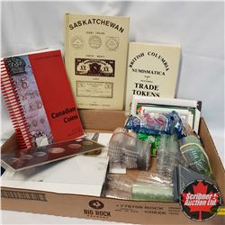 Tray Lot: Coin Collecting Supplies Provincial Ref Books