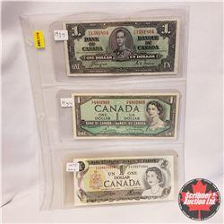 Canada $1 Bills - Sheet of 3: 1937 Coyne/Towers; 1954 Bouey/Rasminsky; 1973 Crow/Bouey