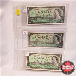 Canada 1967 $1 Bills - Sheet of 3 Types - Beattie/Rasminsky: 1967 No S/N#; 1967 FP8887306; *LO702204