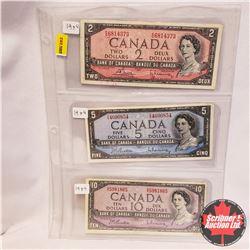 Canada Bills - Sheet of 3: 1954 Bouey/Rasminsky 1954 Beattie/Rasminsky; 1954 Beattie/Rasminsky