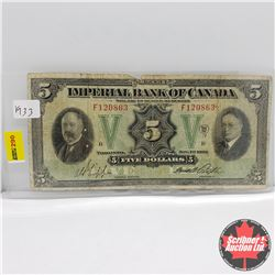 Imperial Bank of Canada $5 Bill 1933