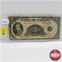 Canada $5 Bill 1935 : Osbourne/Towers A1304284