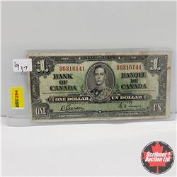 Canada $1 Bill 1937 : Gordon/Towers BM6316141