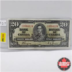 Canada $20 Bill 1937 : Coyne/Towers KE3564124