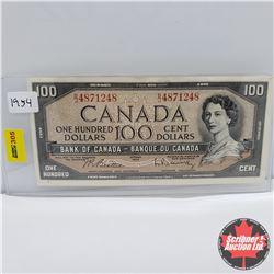 Canada $100 Bill 1954 : Beattie/Rasminsky BJ4871248