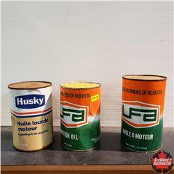 3 Full Oil Tins (Husky, UFA, UFA)