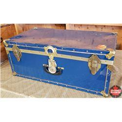 "Blue Tin Trunk (30""W x 16""D x 12""H)"