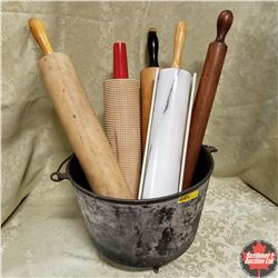 Cast Iron Cauldron w/5 Rolling Pins (Variety Styles)