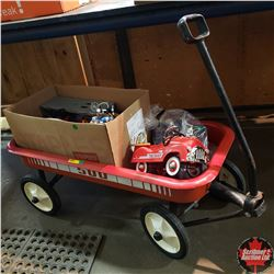 Combination: Red Wagon w/Variety of Toys Cars & Trucks