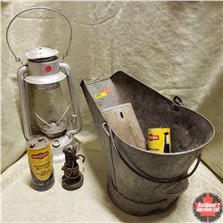 Combo: Coal Skuttle, Telephone Batteries & Barn Lantern