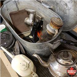 Galvanized Boiler w/Kettle, Barn Lantern, Oiler, Meat Grinder, etc