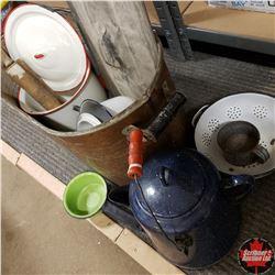 Copper Boiler w/Variety of Enamelware